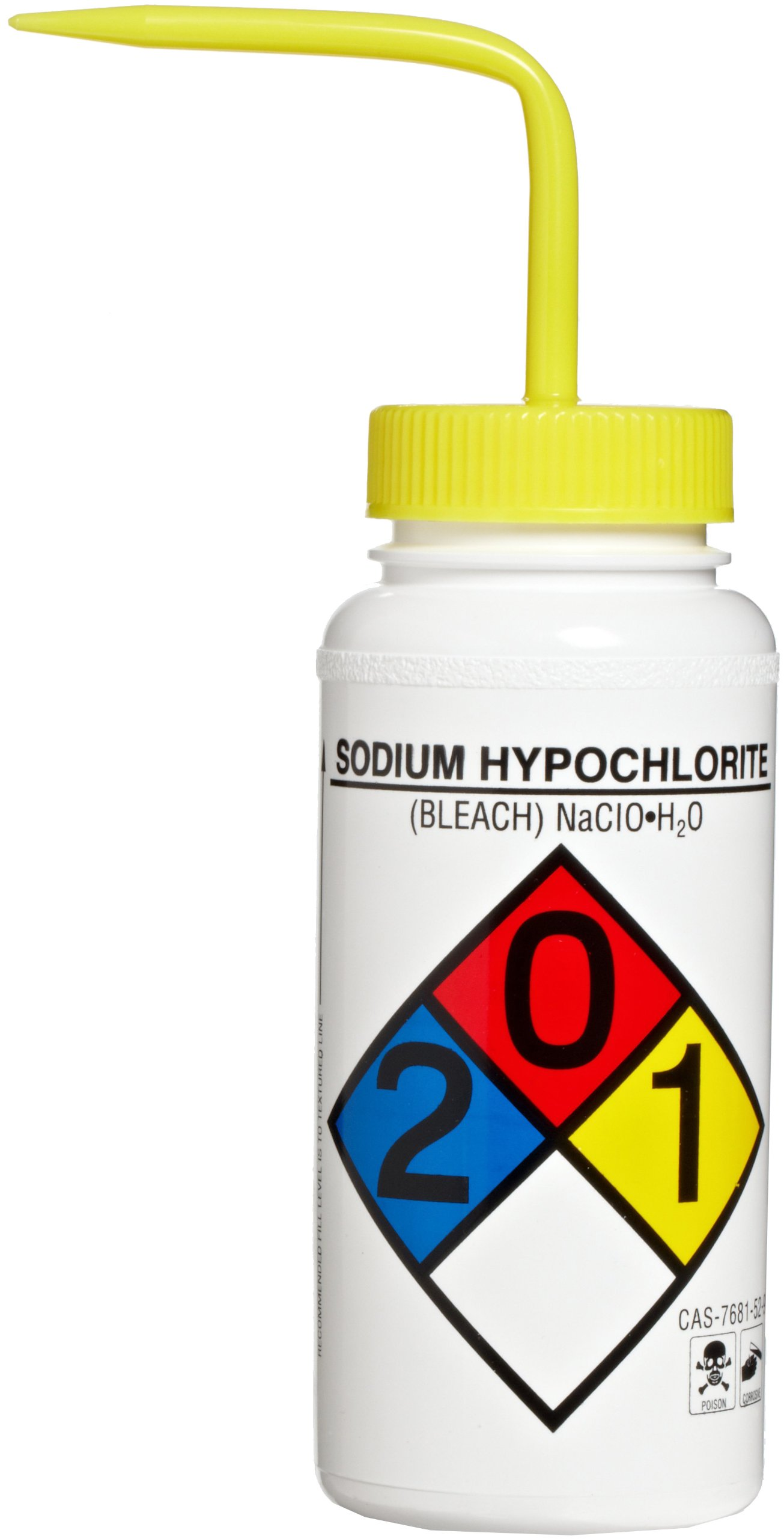 Bel-Art Right-to-Know Safety-Vented/Labeled 4-Color Sodium Hypochlorite (Bleach) Wide-Mouth Wash Bottles; 500ml (16oz), Polyethylene w/Yellow Polypropylene Cap (Pack of 4) (F11816-0015)