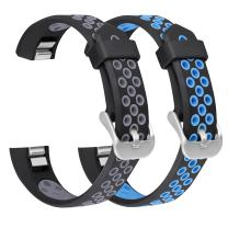 SKYLET Compatible with Fitbit Ace/Fitbit Alta/HR Bands, 2 Pack Soft Breathable Silicone Replacement Wristbands with Secure Metal Clasp Men Women Kids Small Large