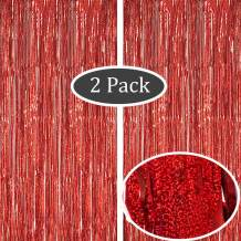 Moohome 2 Pack 3.28 ft x 9.84 ft Laser Glitter Metallic Red Tinsel Foil Fringe Curtains Backdrop for Party Backdrop Door Window Shimmer Curtain Party Wedding Background Decor