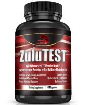 ZuluTEST™ All Natural Testosterone Booster for Men - Organic Strength Supplement - Mood Energy & Muscle Growth Booster - Natural Estrogen Blocker, Belly Fat Burner, Aromatase Inhibitor - 84 Capsules