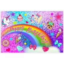 Allenjoy 5x3ft Colorful Glitter Rainbow Backdrop for Photography Birthday Party Pictures Unicorn Puppy Girls Princess Purple Blue Background Newborn Baby Shower Cake Smash Decoration Photo Booth Props