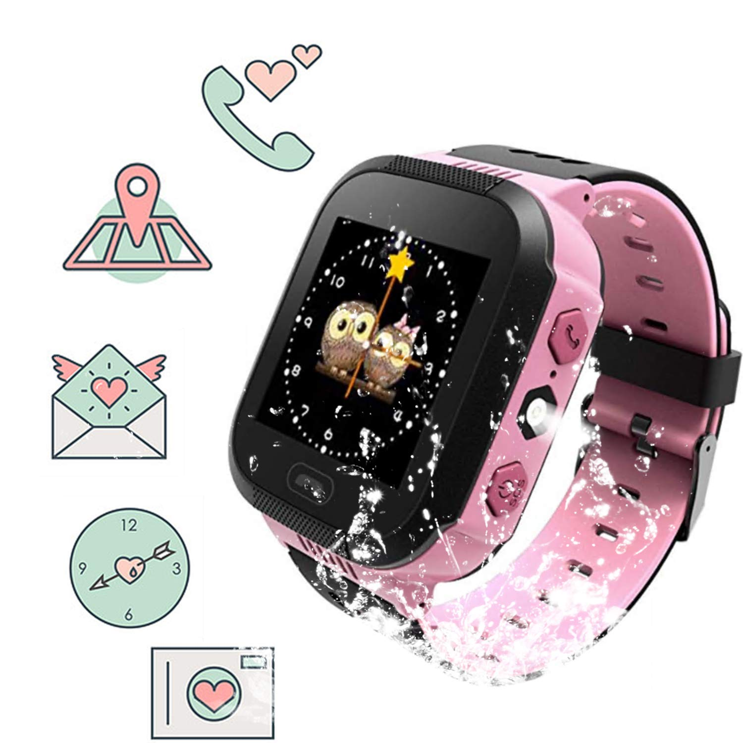 """Kids Smartwatch for Boys and Girls Children GPS Touch Phone Wrist Watch with 1.44"""" Touch Screen and Anti-Lost SOS Call GPS LBS Locator Smartwatch for Kids Gift, Compatible with iOS & Android(Pink)…"""