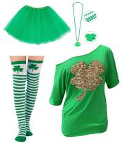 Goodstoworld Womens St.Patrick's Four-Leaf Clover Flip Sequins Shirt(Some Tees with Accessories