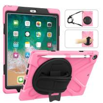 MoKo Fit 2018/2017 iPad 9.7 6th/5th Generation - Shockproof Protection Rugged Protective Heavy Duty iPad Case with 360 Degree Rotate Stand, Hand Strap, Shoulder Strap, Pencil Holder - Pink