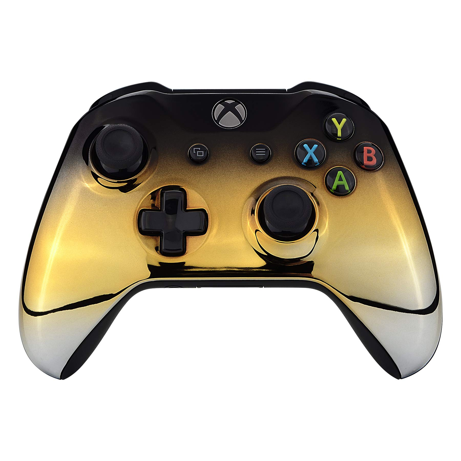eXtremeRate Tri-Color Gradients Glossy Faceplate Cover, Chrome Black Gold Silver Front Housing Shell Case Replacement Kit for Xbox One S & One X Controller (Model 1708) - Controller NOT Included