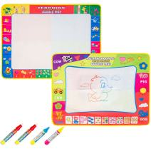 "Biubee 2 Pack Water Drawing Doodle Mat 31.5""x 23.6"" for Each - Foldable Magic Drawing Pads in 4 Color Drawing Parts Eco-Friendly & Educational Toy Set with 4 Water Pens Included"