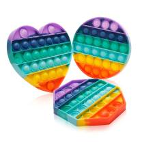 Push Pop Bubble Fidget Sensory Toys a Loud Side and a Quiet Side to Pop Autism ADHD Special Needs Stress Reliever Silicone Squeeze Toy Tactile Logic Game, Great for Kids and Adults (Heart Shaped)