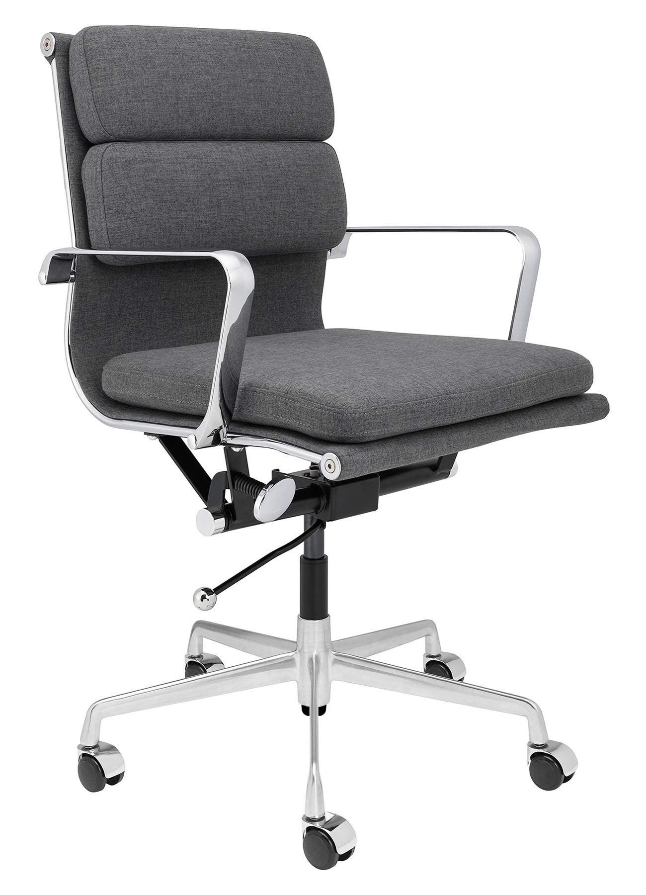 SOHO Mid Century Modern Soft Pad Management Chair (Charcoal Fabric)