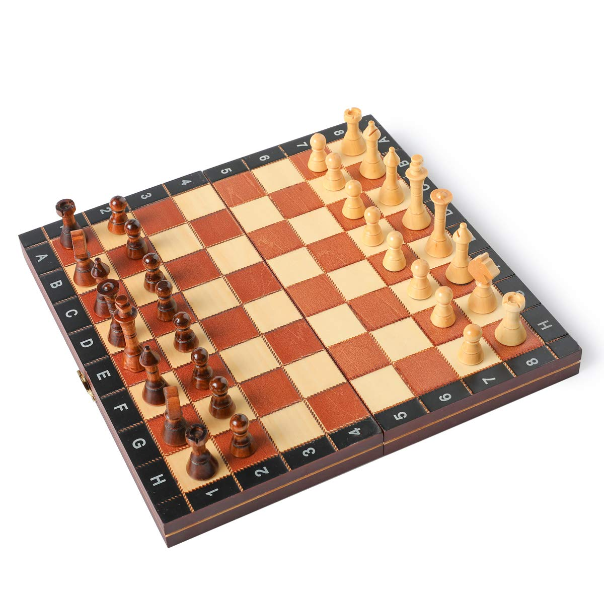 """HOLYKING 10.6"""" Folding Wooden Chess Set - Portable No Stress Travel Chess Game Set with Storage Bags"""
