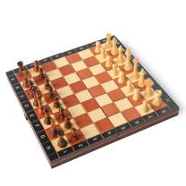 "HOLYKING 10.6"" Folding Wooden Chess Set - Portable No Stress Travel Chess Game Set with Storage Bags"