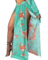 BIUBIU Women Sexy There Piece Bikini Set Floral Printed Swimsuits + Cover Up Beach Skirt
