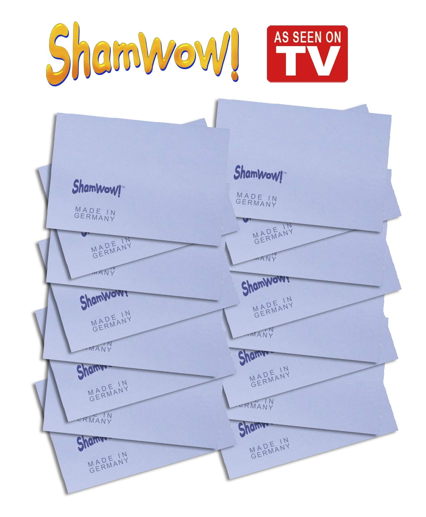 The Original Shamwow Mini - Super Absorbent Multi-Purpose Cleaning Shammy (Chamois) Towel Cloth, Machine Washable, Will Not Scratch, Blue (16 Pack)