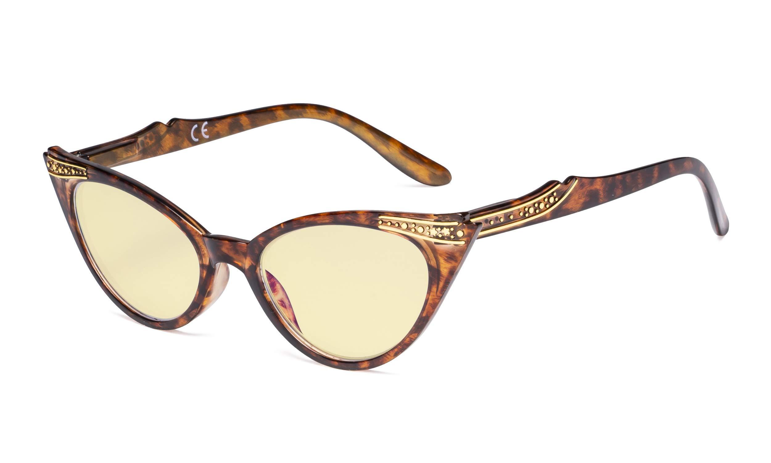 Eyekepper Ladies Blue Light Blocking Glasses with Yellow Filter Lens - Cateye Computer Eyeglasses Women - Tortoise