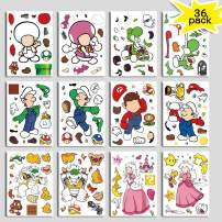 Super Mario Sticker for Kids Birthday Party Game – Mario Brother Party Supplies Favor Make a Face Sticker Sheets - Craft Creative Design Wall Room Decoration Stickers As Reward (36 Pack)
