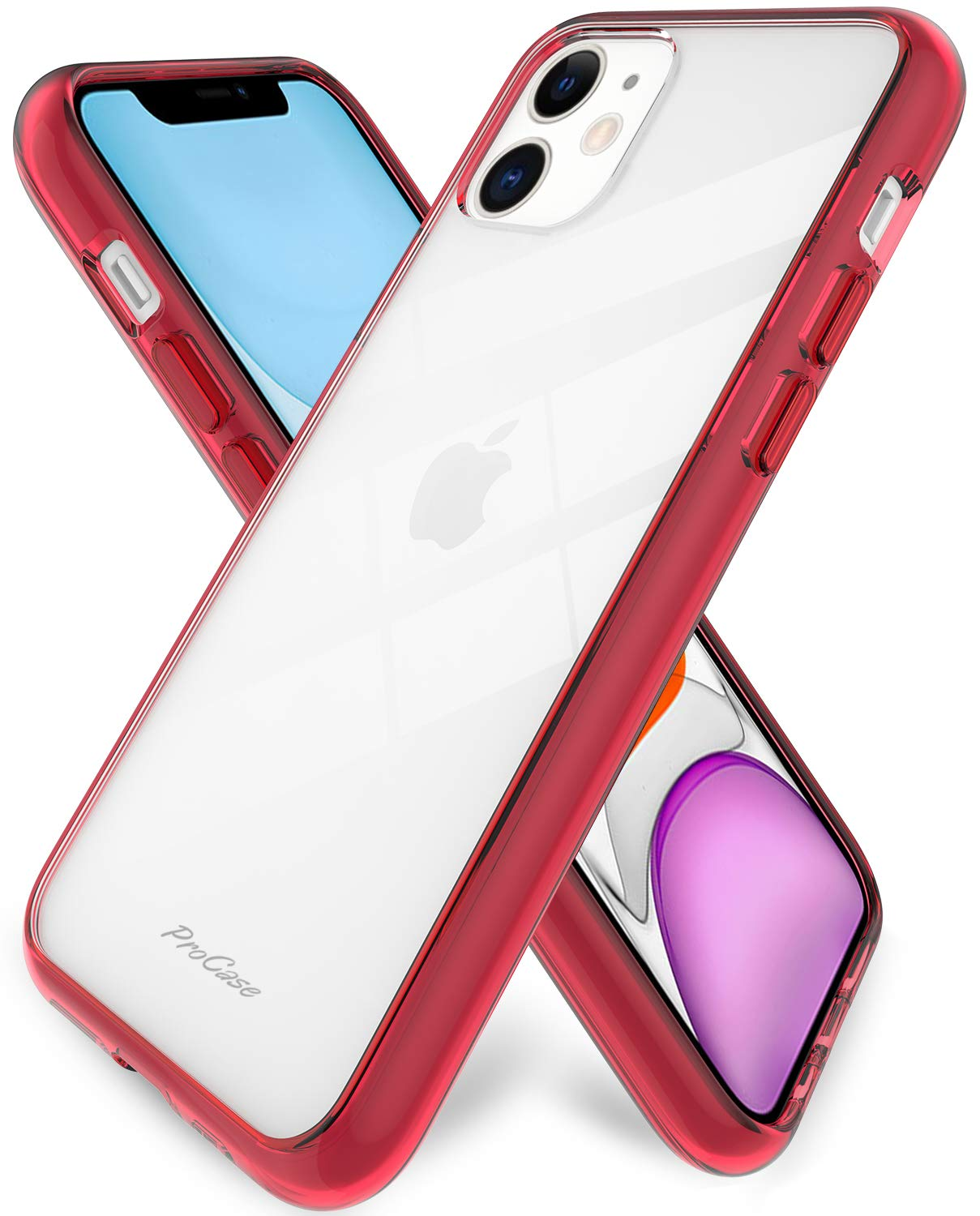 Procase iPhone 11 Case Clear, Hybrid Slim Crystal Clear Case Shock-Absorption Anti-Scratch Bumper Cover Protective Case with Soft TPU + Hard PC Back Cover for iPhone 11 6.1 Inch 2019 –Crystalred