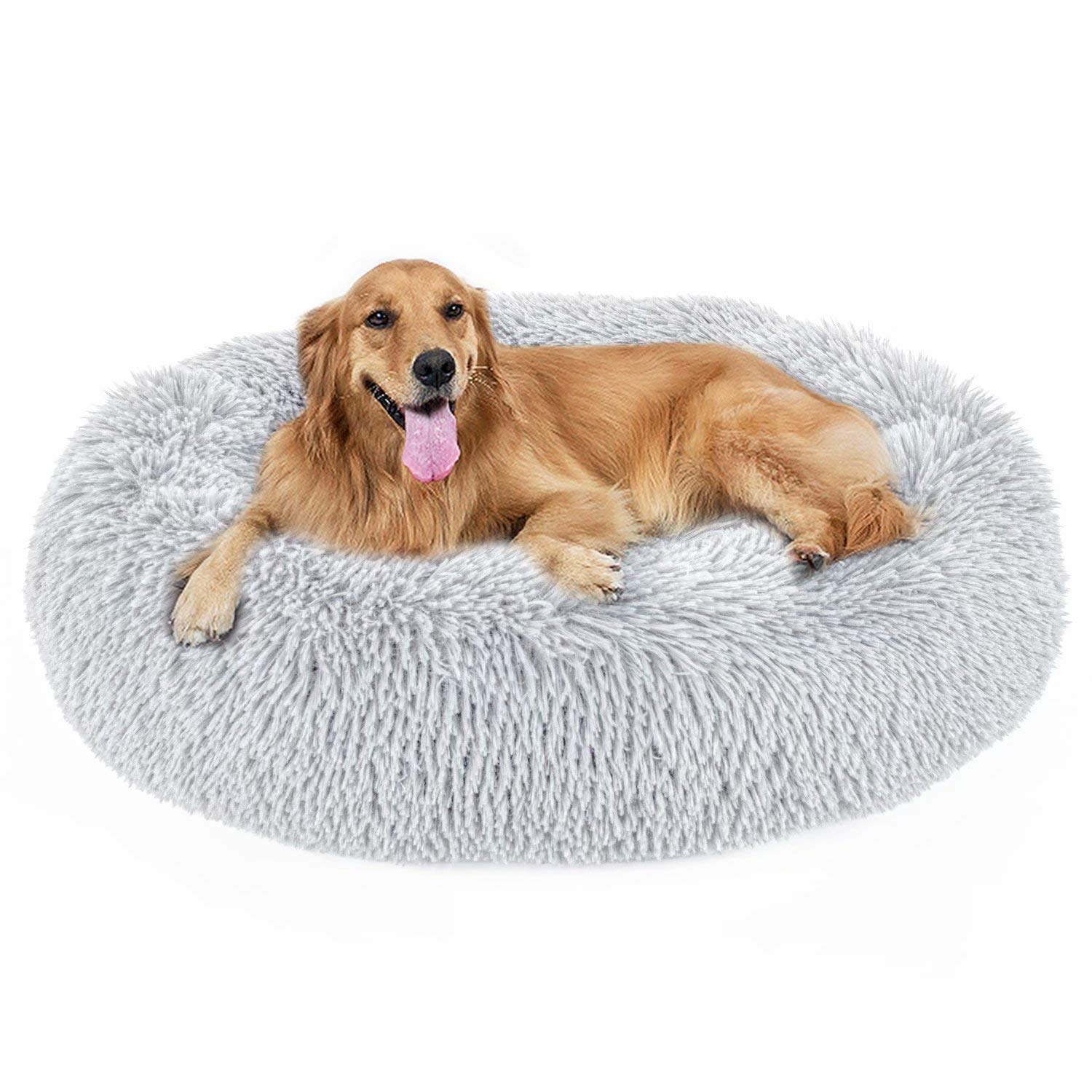 Dog Bed, Cat Calming Bed, Orthopedic Pet Donut Cuddler Round Plush Bed for Large Medium Small Dogs and Cats