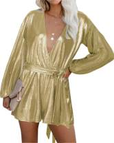 YOINS Sequin Rompers for Women Long Sleeve Jumpsuits Casual V Neck Playsuits Bandage Waist Sparkle Metallic Party Romper