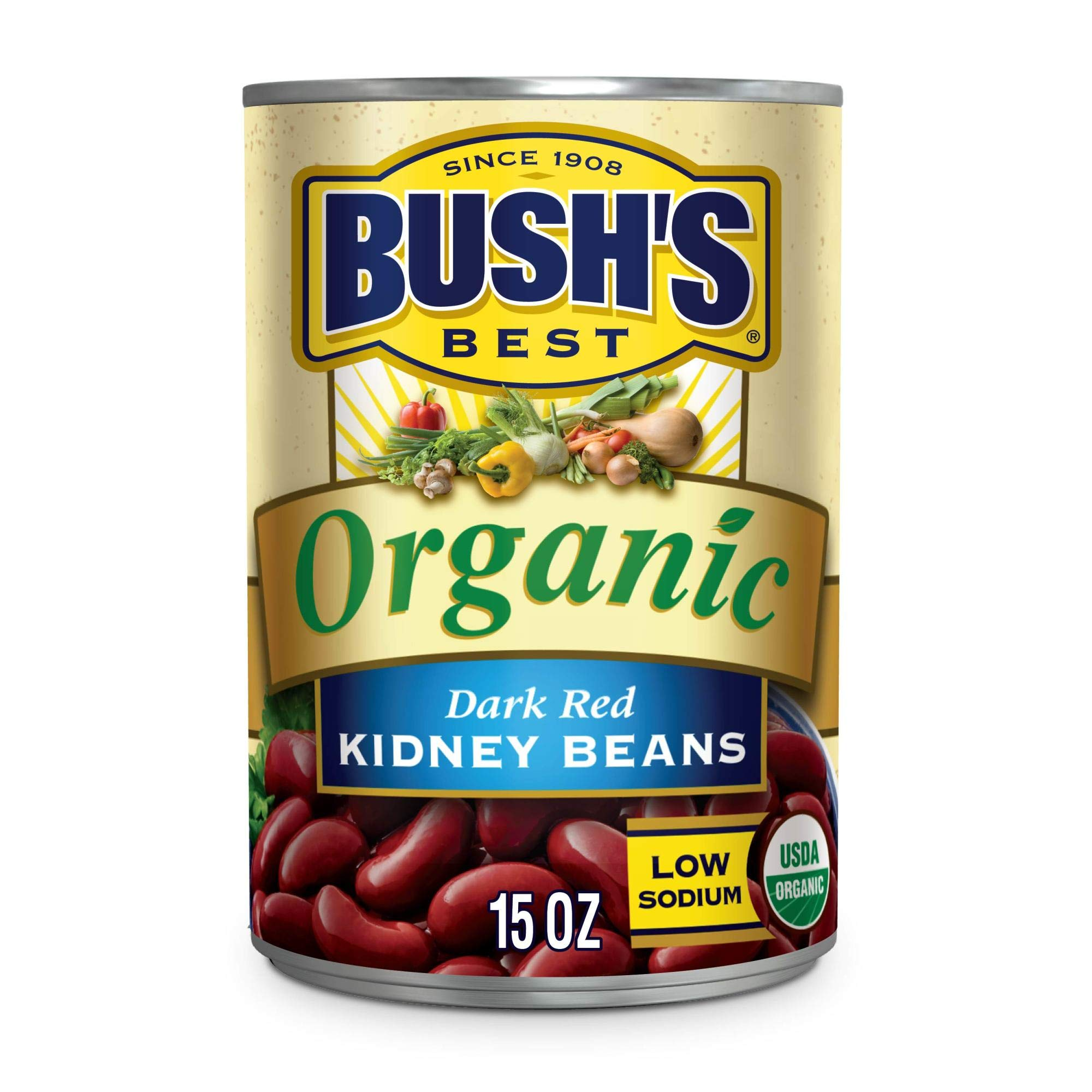 BUSH'S BEST Canned Organic Dark Red Kidney Beans (Pack of 12), Source of Plant Based Protein and Fiber, Low Fat, Gluten Free, 15 oz