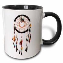 3dRose Native American inspired Dream Catcher design, colorful feathers and beads. Two Tone Mug, 11 oz, Black