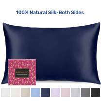 Sleep Mantra Silk Pillowcase Standard Size Navy-Blue - 30 Night Free Trial, 22 Momme Weight, 100% Mulberry Silk Pillow Cover for Great Hair and Skin, Washable and Soft Pillow Sham (20 x 26 Inch)