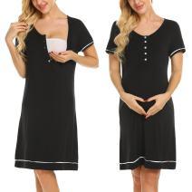 Ekouaer Womens Maternity Nursing Breastfeeding Nightdress Shirt Gown (Black