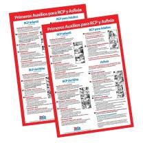 2 Pack: CPR & Choking Posters in Spanish - CPR Wall Charts - School Supplies in Spanish - Spanish CPR Posters Laminated, Choking Signs for Restaurants - 12 x 18 inches