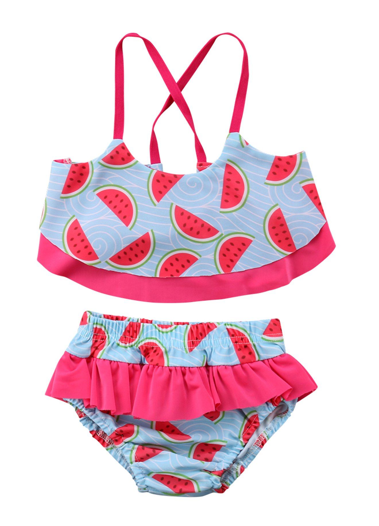 Kids Baby Girls Cute Watermelon Halter Two-Pieces Ruffle Bikini Set Swimsuit Baithing Suit