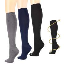 3pairs Compression Socks Women & Men 15-20 mmHg - Best Medical,Athletic, Travel & Flight Socks, Nurses,Edema,Running - Recovery & Fitness