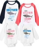 Aslaylme Matching Brother Sister Kid Long Sleeve T-Shirts Shark Doo Doo Bodysuit Outfits