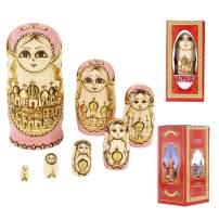 "JG.Eshadoll Russian Nesting Dolls Matryoshka Babushka 7pcs Wooden Stacking Nesting Set Packed Colorful Box for Kids Xmas Birthday Home Room Decoration Gifts(Pink-TW002, 7.87"")"