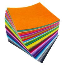 flic-flac 4 x 4 inches (10 x10cm) Assorted Color Felt Fabric Sheets Patchwork Sewing DIY Craft 1mm Thick with Sewing Kit for Choice (Felt only, 48pcs)