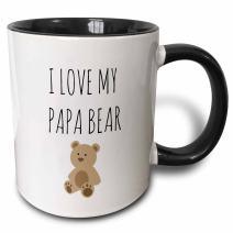 3dRose I Love My Papa Bear Two Tone Mug, 11oz, Black