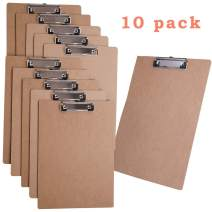 JAKAGO A4 Letter Size Wood Clipboards ECO Friendly Hardboard Clipboards Low Profile Clip Standard File Holder for Classrooms, Offices (Pack of 10)