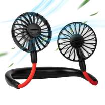 Hand Free Personal Neck Fan - Portable USB Fan Battery Operated Mini Rechargeable Wearable Neckband Fan Cooler Fan with Dual Wind Head for Traveling Outdoor Office Room