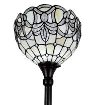 "Amora Lighting Tiffany Style Floor Lamp Torchiere Standing 72"" Tall Stained Glass White Mahogany Peacock Antique Vintage Light Decor Bedroom Living Room Reading Gift AM284FL12B, 12 Inch Diameter"