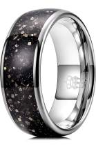 THREE KEYS JEWELRY 8mm Tungsten Galaxy Series Rings for Men with Black Sand Pyrite Inlay Engagement Wedding Band