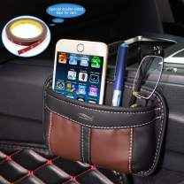 AMEIQ Car Storage Organizer, Leather Box Bag Pocket Container, Best Holder for Phone Glasses Pen Coin Key etc.