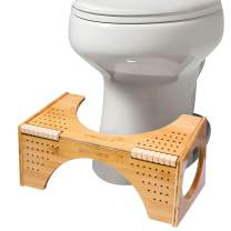 """BQYPOWER Squatting Toilet Stool, Non-Slip Bamboo Toilet Potty Step Stool, 2-in-1 Portable Bathroom Squatting Urinal with Flip Adjustment for Adults Children (8""""and 10"""")"""