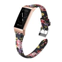 Shangpule Bands Compatible for Fitbit Charge 4 / Fitbit Charge 3 / Fitbit Charge 3 SE, Slim Premium Leather Band Flower Design Replacement Strap (Colorful Flower 2 with Rose Gold connectors)