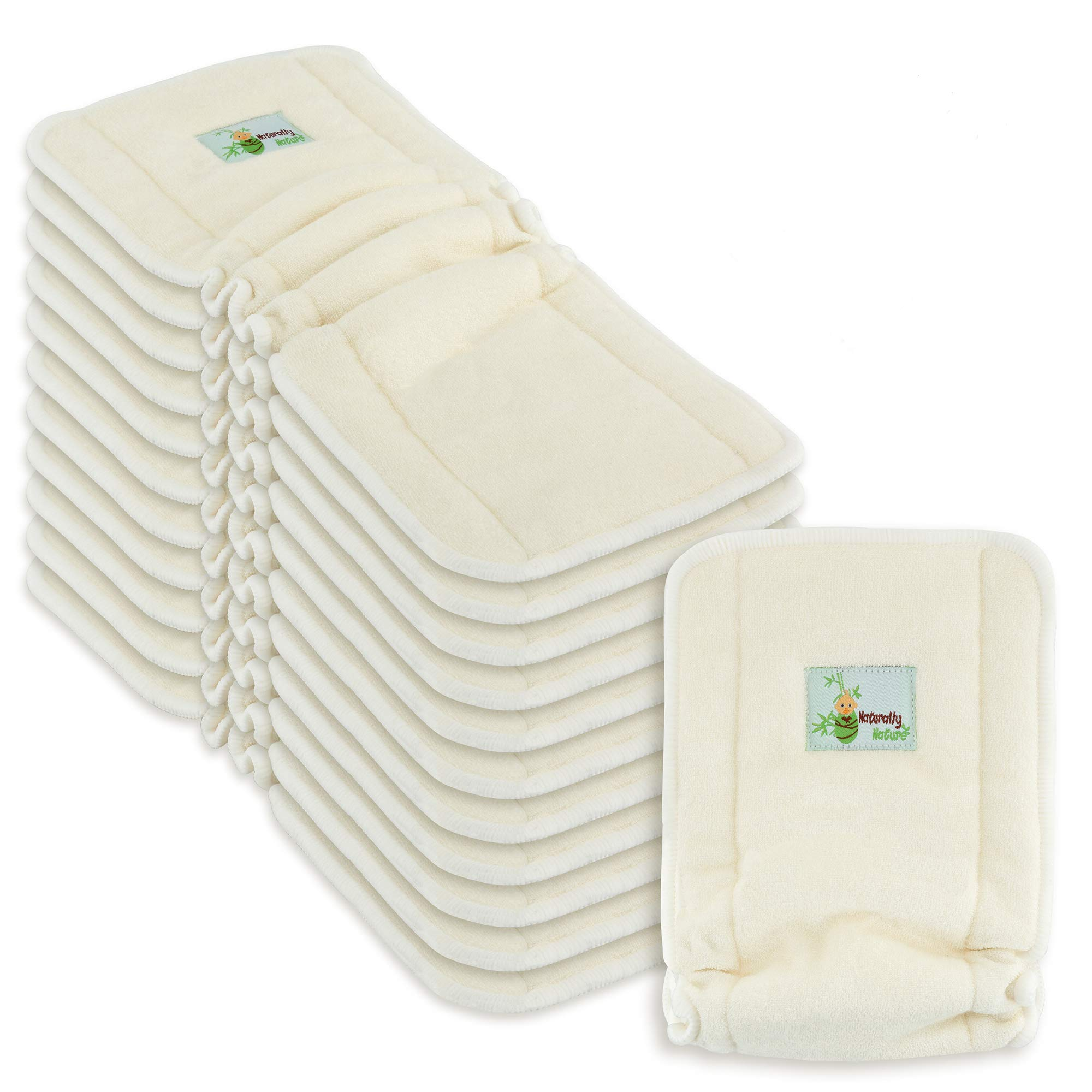 Naturally Natures 4 Layer Cloth Diaper - Inserts - with Gussetts Bamboo Reusable Liners for Cloth Diapers (Pack of 12)