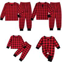 Matching Family Pajamas Sets Christmas Red Plaid Shirt and Pants 2-Piece Fall Winter Clothes Sleepwear
