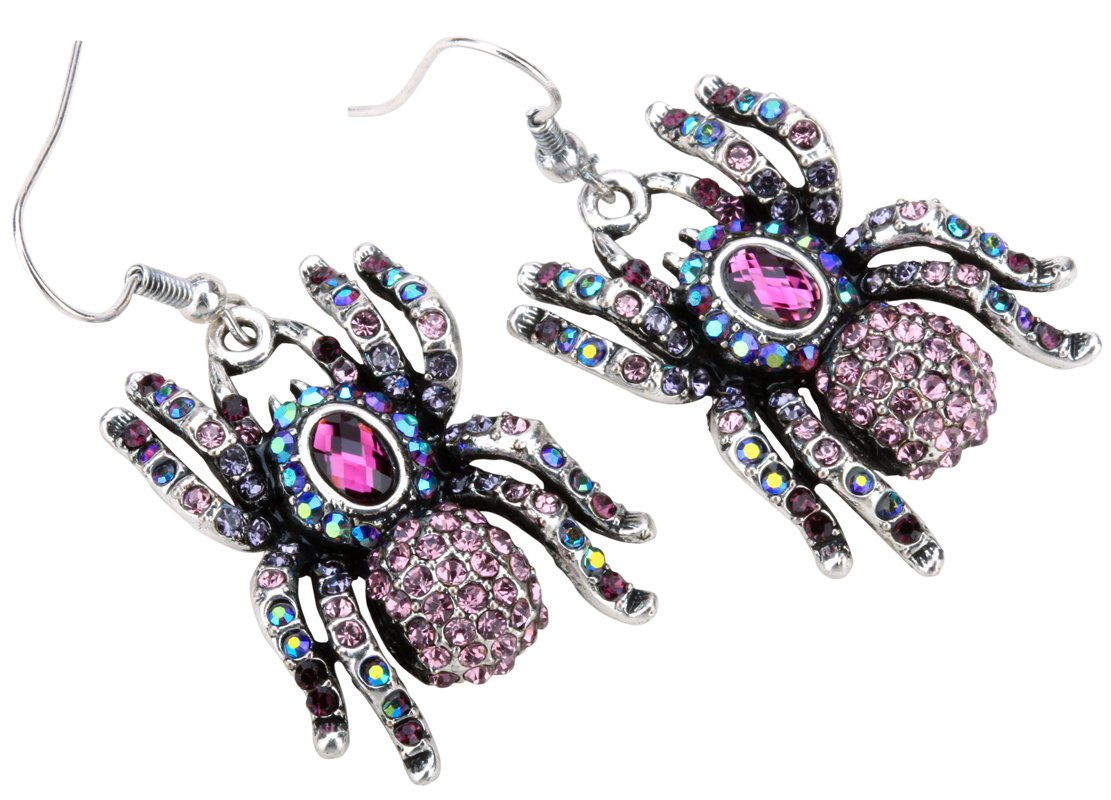 YACQ Women's Spider Dangle Earrings - Lead & Nickle Free - 2 Inches Long - Halloween Costume Accessories Jewelry