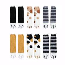 6 Pack Plush Cozy Slipper Sock Cute Cat Claw Design for Girls Womens Winter Indoor
