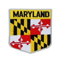 State Flag Shield Maryland Patch Badge Travel USA Embroidered Iron On Applique