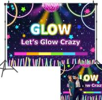 Let's Glow Carzy Neon Photography Backdrops Glow Splatter Black Theme Photo Background for Glowing Music Stage Party Decoration Studio Props Banner Vinyl 5x3ft