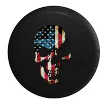 American Flag on Shadowed Skull Spare Tire Cover (Fits: Jeep Wrangler Accessories or SUV Camper RV) Black 31 in