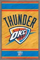 "Trends International NBA Oklahoma City Thunder - Logo, 22.375"" x 34"", Barnwood Framed Version"