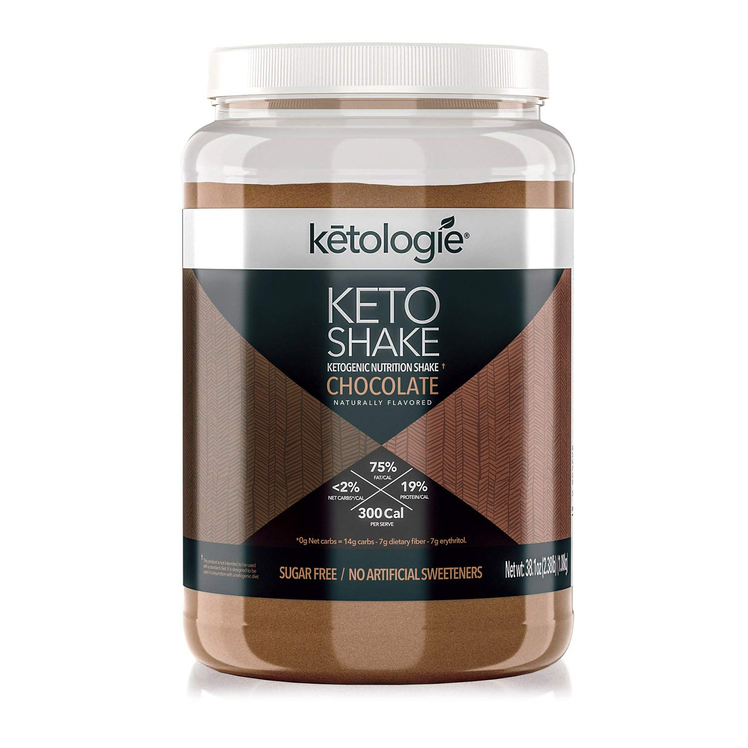 Ketologie Collagen Keto Shake (Chocolate) - with Coconut Oil, Grass Fed Hydrolyzed Collagen Peptides Type I & III, Low Carb High Fat, Lactose Free, Gluten Free, Soy Free, 2.38lbs