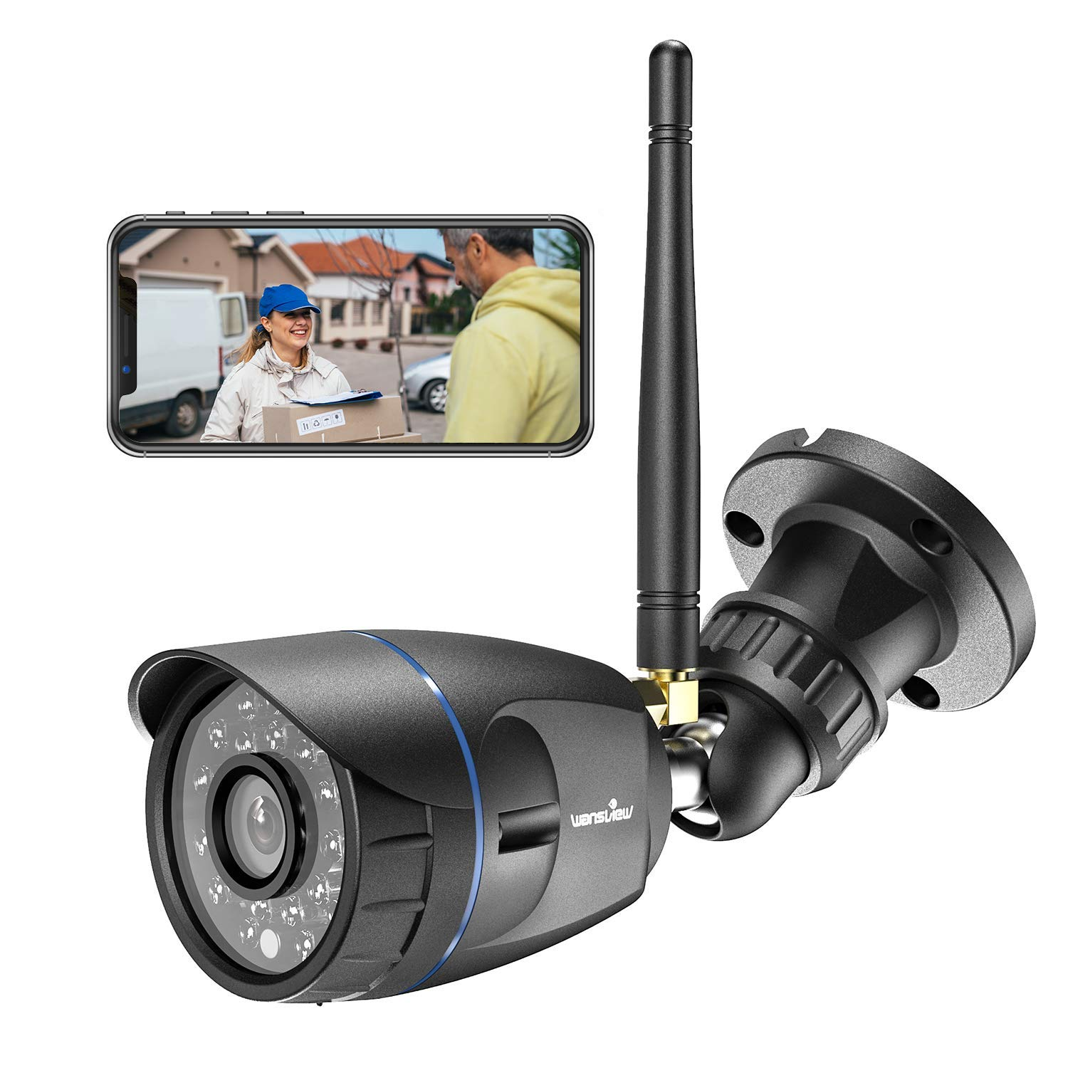 Outdoor Security Camera, Wansview 1080P Wireless WiFi Home Surveillance Waterproof Camera with Night Vision, Motion Detection, Remote Access, Compatible with Alexa-W4-Black