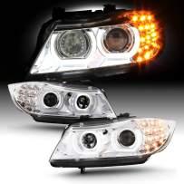 Fits 2009-2011 BMW 323i 335i M3 Sedan / 328 Wagon [Halogen Type] 3D Halo Projector Chrome Headlights w/LED Turn Signal
